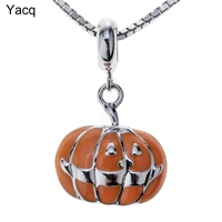 Yacq 925 Sterling Silver Pumpkin Necklace Pendant W Chain Halloween Party Jewelry Gift Women Girls Daughters
