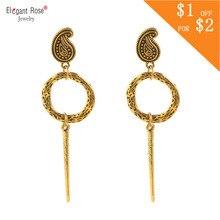 Vintage Ethnic Tassel Earrings For Women 2018 Antique Silver Luxury Indian Jewelry Round Hollow Geometric Drop Earrings ER4897