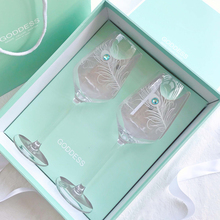 2pcs crystal re wine glass High grade handmade carving Blue Diamond cup goblet wedding glasses Gift box glassset