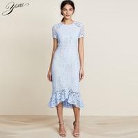 Summer Woman Lace Mermaid Dress Short Sleeve Ladies Elegant Mid Dress O neck Female Party Dress OL Bodycon Blue Laces Dresses
