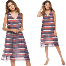 Womens Summer Deep V-neck Contrast Color Stripe Sleeveless Dress Fashion Sexy Beach Party