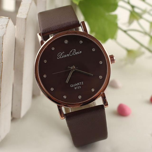 Watch Accessories Fashion Women's Diamond Leatheroid Band Round Dial Quartz Wrist Watch WH