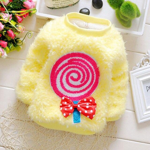 2015 новый осень зима милый рисунок леденец вязаный свитер детскую одежду бархат теплой младенцы девушки пуловеры костюм 0 ~ 2age новорожденных