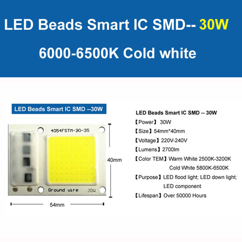 [YOYOLUO] LED COB Lamp Chip 5W 20W 30W 50W 220V Input Smart IC Driver Fit For DIY LED Floodlight Spotlight Cold White Warm White