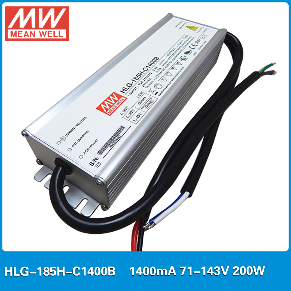 MEAN WELL constant current LED Power supply HLG-185H-C1400B 71-143V 1400mA 200W PFC waterproof dimming LED Driver 1400mA 100w led dimming power supply waterproof constant current driving power supply 0 3a led driver