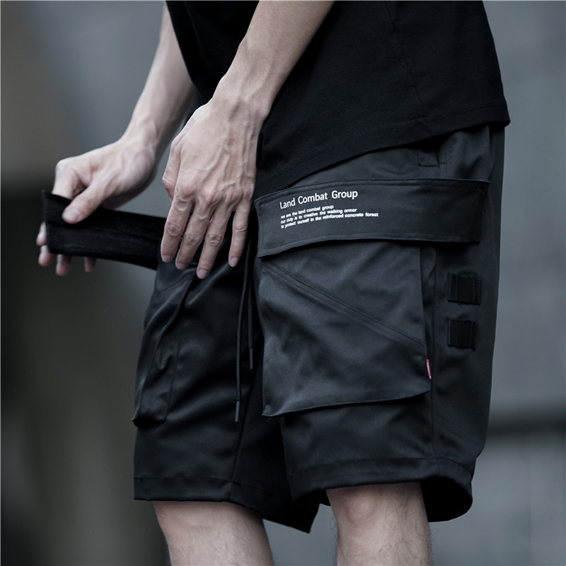Cargo Shorts Men Hip Hop Summer Streetwear Elastic Waist Sweat Short Sweatpant Short Jogger