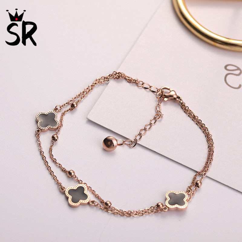 SR Charm Stainless Steel Four-leaf Clover Chain & Link Korean Style Bracelet Women Fashion Rose Gold Jewelry Party Birthday Gift