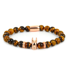 Tiger Eye Stone Beaded Rose Gold Batman Bracelet Men Fashion Jewelry Lucky Gem Natrual  Bead Super Hero Charm Bracelets