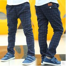 2015 Boys Pants Kids Casual Children Fashion Plaid Trousers