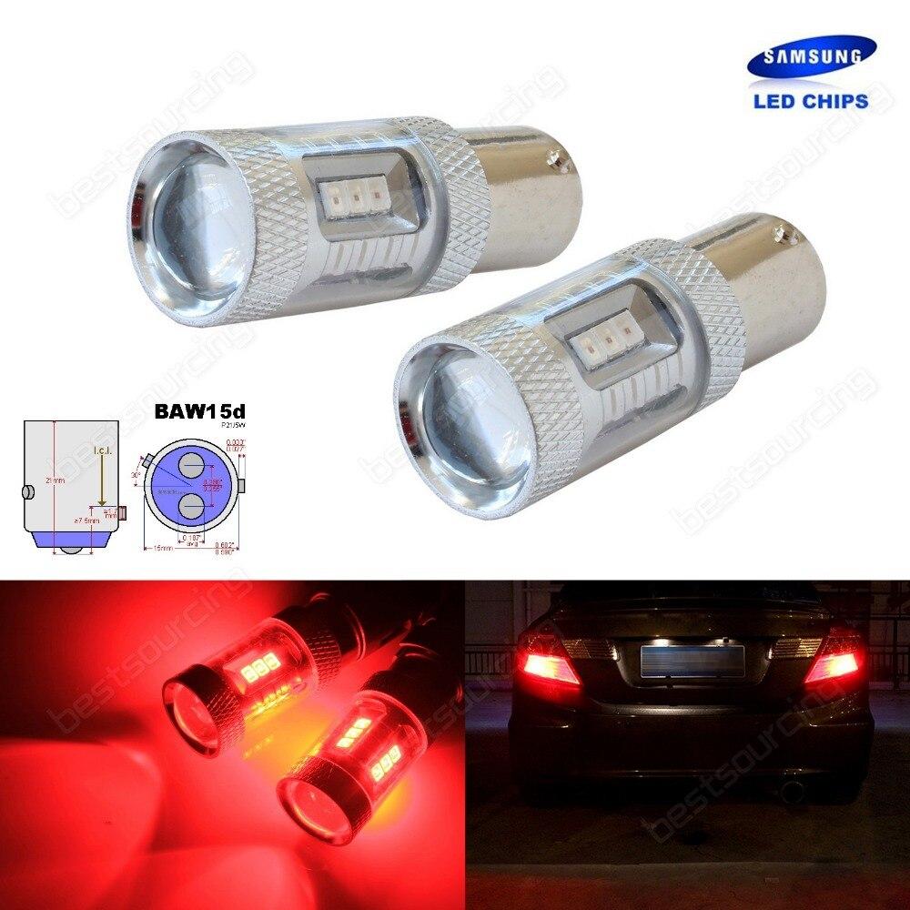 2x BAW15d 567 PR21 5W Bulbs SAMSUNG 15W LED Tail Stop Brake Rear Fog Light Red
