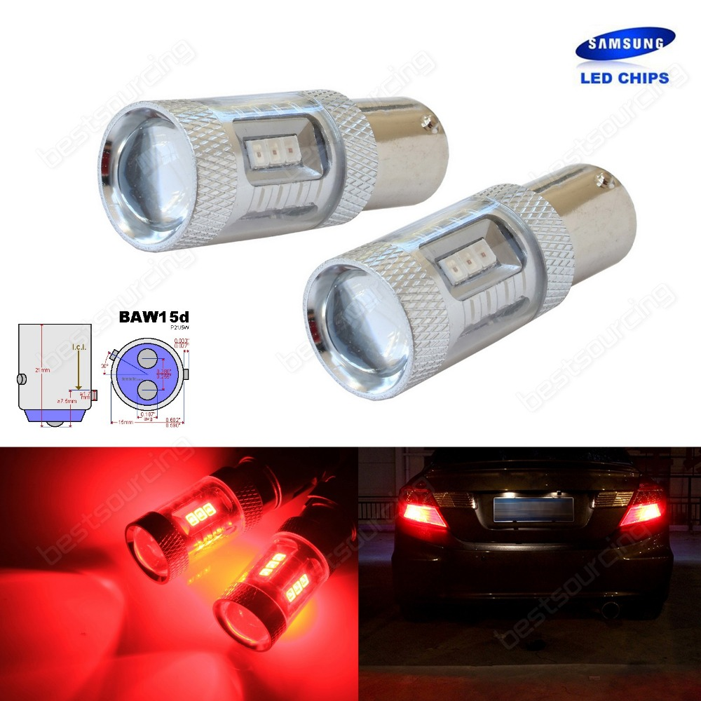 2x BAW15d 567 PR21/5W Bulbs SAMSUNG 15W LED Tail Stop Brake Rear Fog Light Red(CA317)