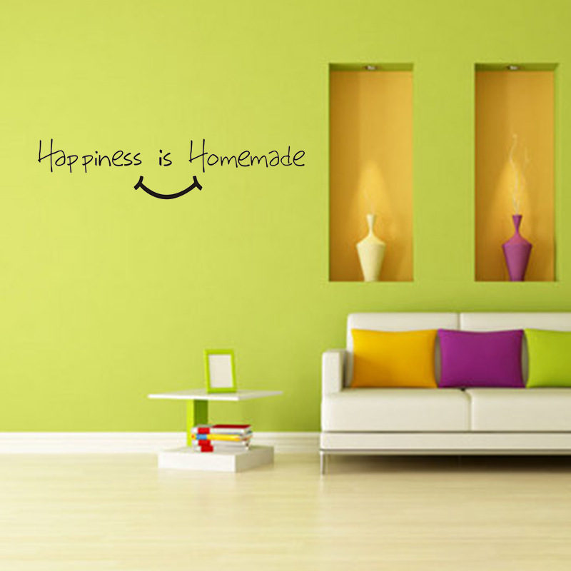 Aliexpress Buy Happiness Is Homemade Kitchen Wall Stickers Home Decoration Art Decals Living Room Sticker Quote Proverbs Muraux From