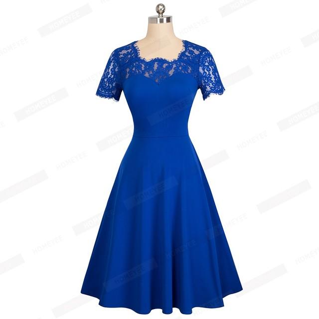 Female  Vintage Floral Lace Solid Color Casual Business Office Dress Elegant O-Neck Summer Swing Skater Dress EA119