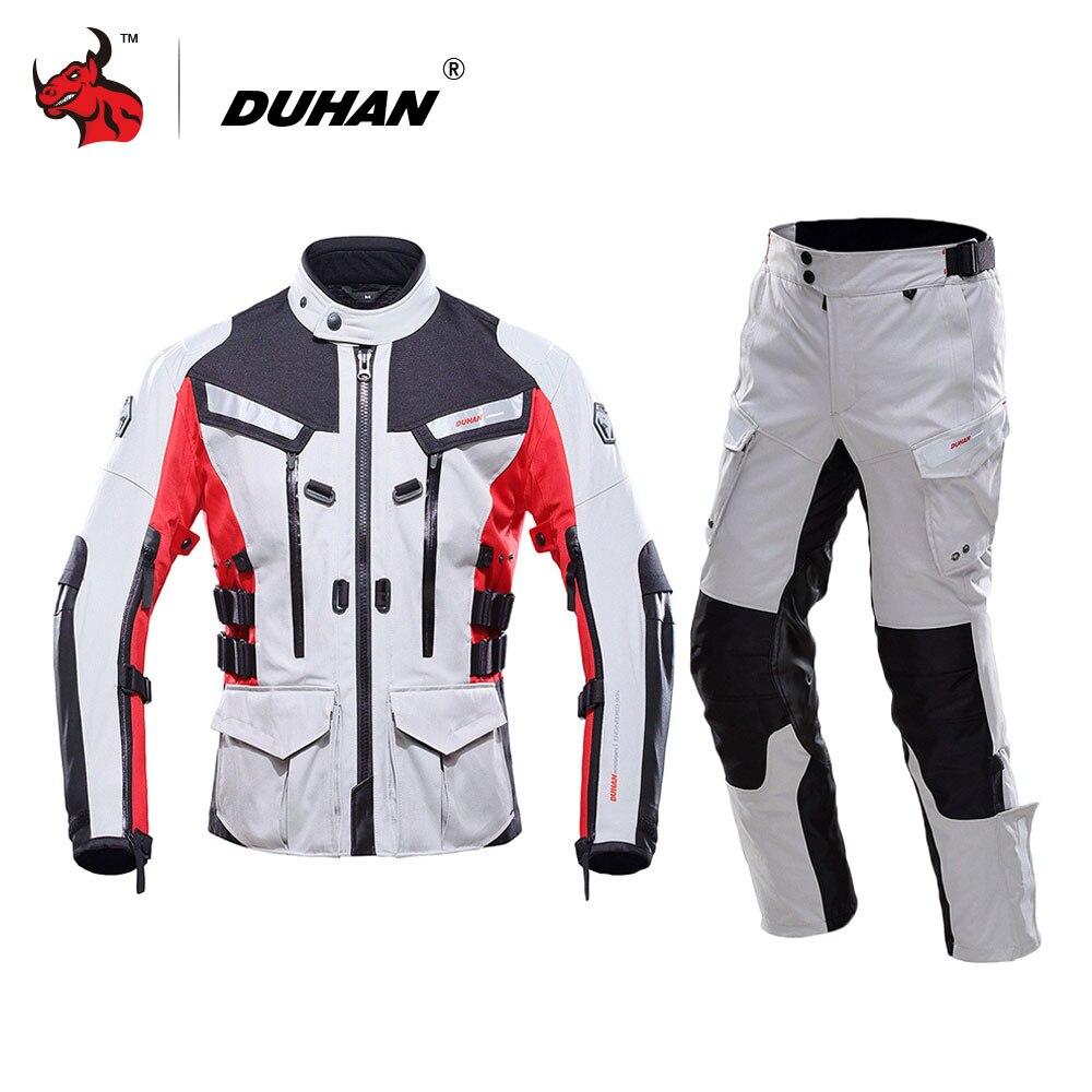 DUHAN Imperméable Moto Veste Traje Motocyclisme Motocross Veste Moto Racing Veste Pantalon Blouson Moto Équipement De Protection