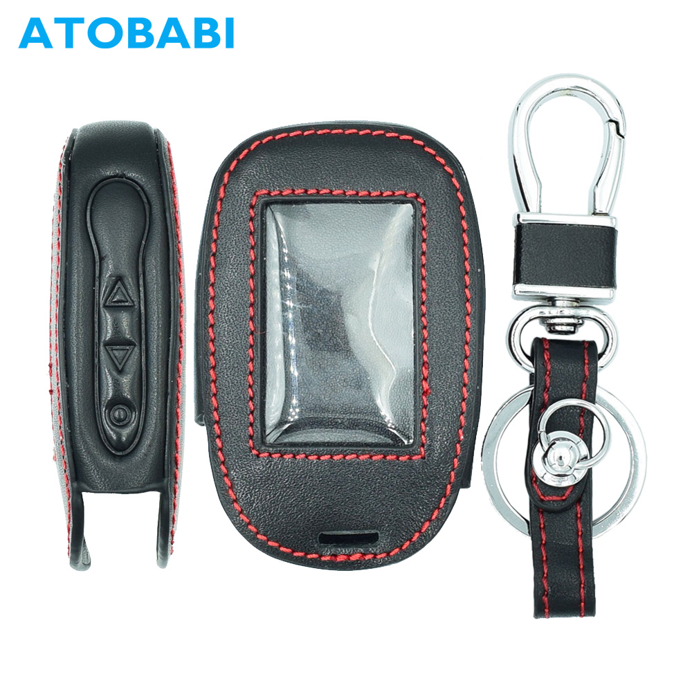 ATOBABI B92 Leather Car Key Case for Starline B92/B64/B62/B94 Twage Two Way Car Alarm System LCD Remote Controller Cover magicar 903 magicar 902 remote starter two way alarm car alarm system magicar