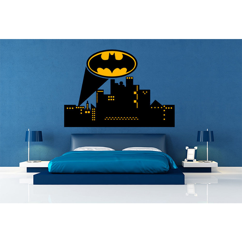 POOMOO Wall Decals Gotham city skyline batman wall decal vinyl batman wall decal for Hallowmas