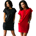 40 9883 Summer Women Casual Mini Dress New Fashion Solid Black Short Sleeve Red O-neck Dresses Pockets Shirt Dress Plus Size