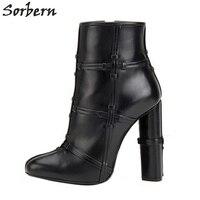 Sorbern Botas Mujer 2017 Booties High Heels Women Chunky Heeled Winter Boots Pointed Toe Custom Shoes