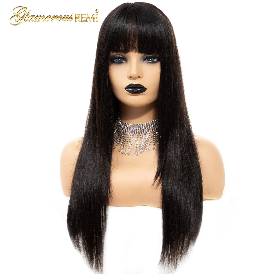 Glamorousremi Malaysian Straight Lace Front Wigs With Bangs 150% Density Human Remy Hair Pre Plucked Glueless Lace Front Wig
