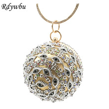 Фотография Rdywbu Cute Eyes Round Evening Bag Bridal Wedding Wrist Clutches Diamond Banquet Purse Handbag Chain Shoulder Messenger Bag B447