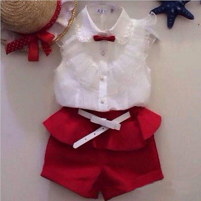 new 2015 Summer fashion Girl lace white blouses+ red shorts clothing set twinset lace asymmetric shorts