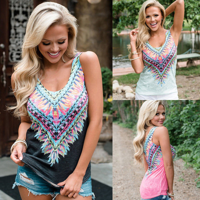 Boho Vest Sleeveless Short T-Shirt