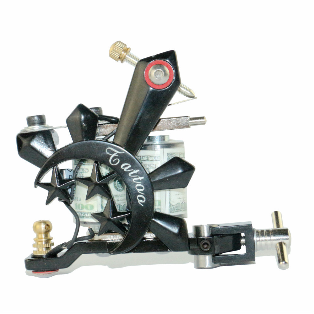 Pro Newest Tatoo Machine US Dollar Design 10 Wrap Coil Tattoo Gun Handmade Cast Iron Tattoo Machine Liner and Shader TM-779 cast iron alloy dragonfly tattoo machine gun yellow