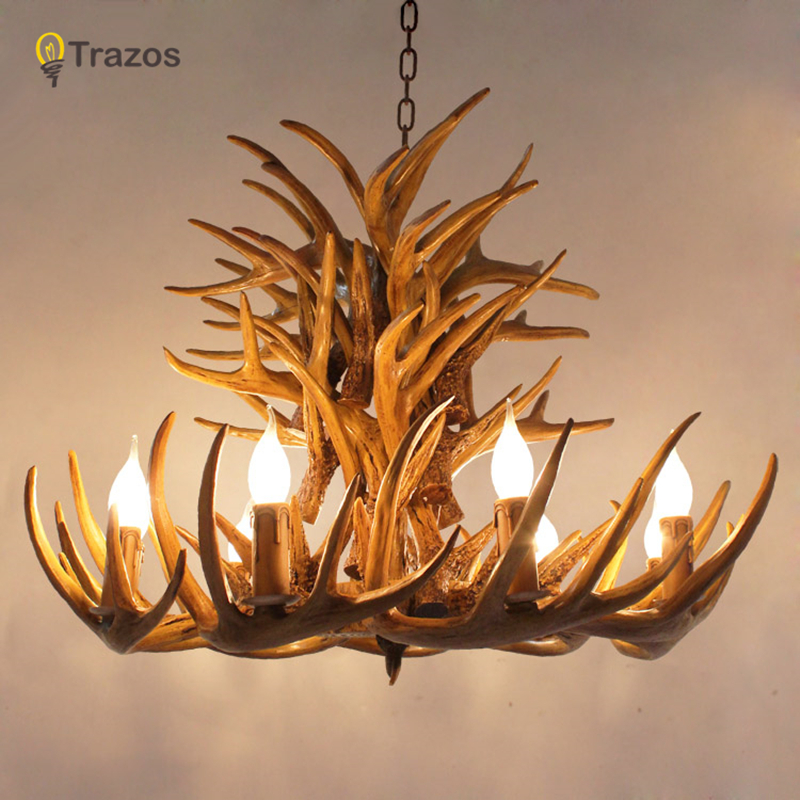 Europe Country 9 Head Candle Antler Chandelier American Retro Resin Deer Horn Lamps Home Decoration Lighting E14 110 240V