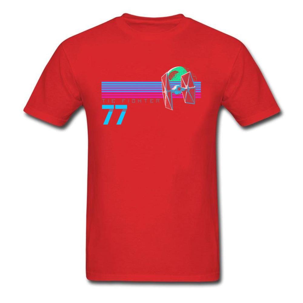 Прочный Шарм Звездные войны Спортивная футболка Tie Fighter And Death Star Футболка мужская хип хоп 80 s футболка с изображением неоновой черной одежды - Цвет: Red