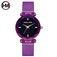 Luxury Brand Lady Watch Japan Quartz Movement Purple Diamond Women Watches Fine Stainless Steel Adjustable Watchband Female Gift