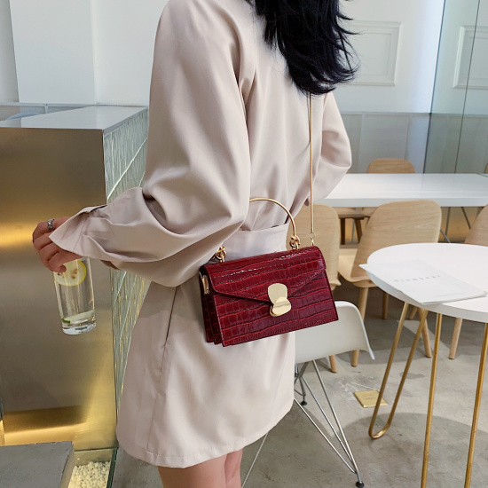 Stone pattern PU Leather Crossbody Bags For Women 2020 Mini Shoulder Messenger Bag With Metal Handle Lady Travel Totes