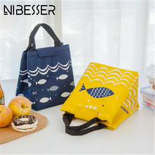 Фотография NIBESSER Cute Fish Lunch Bag Food Insulation Bag Handbag Lunch Bag Picnic Storage Organizer Insulation Cold Portable Ice Pouch