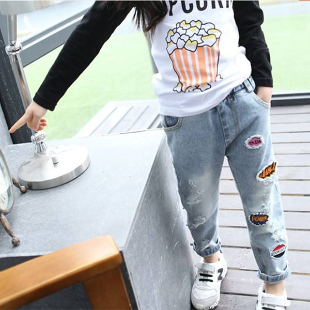 The New Year. Children's clothing spring and autumn kids hole jeans,girls Fashion  girls Fashion embroidery jeans