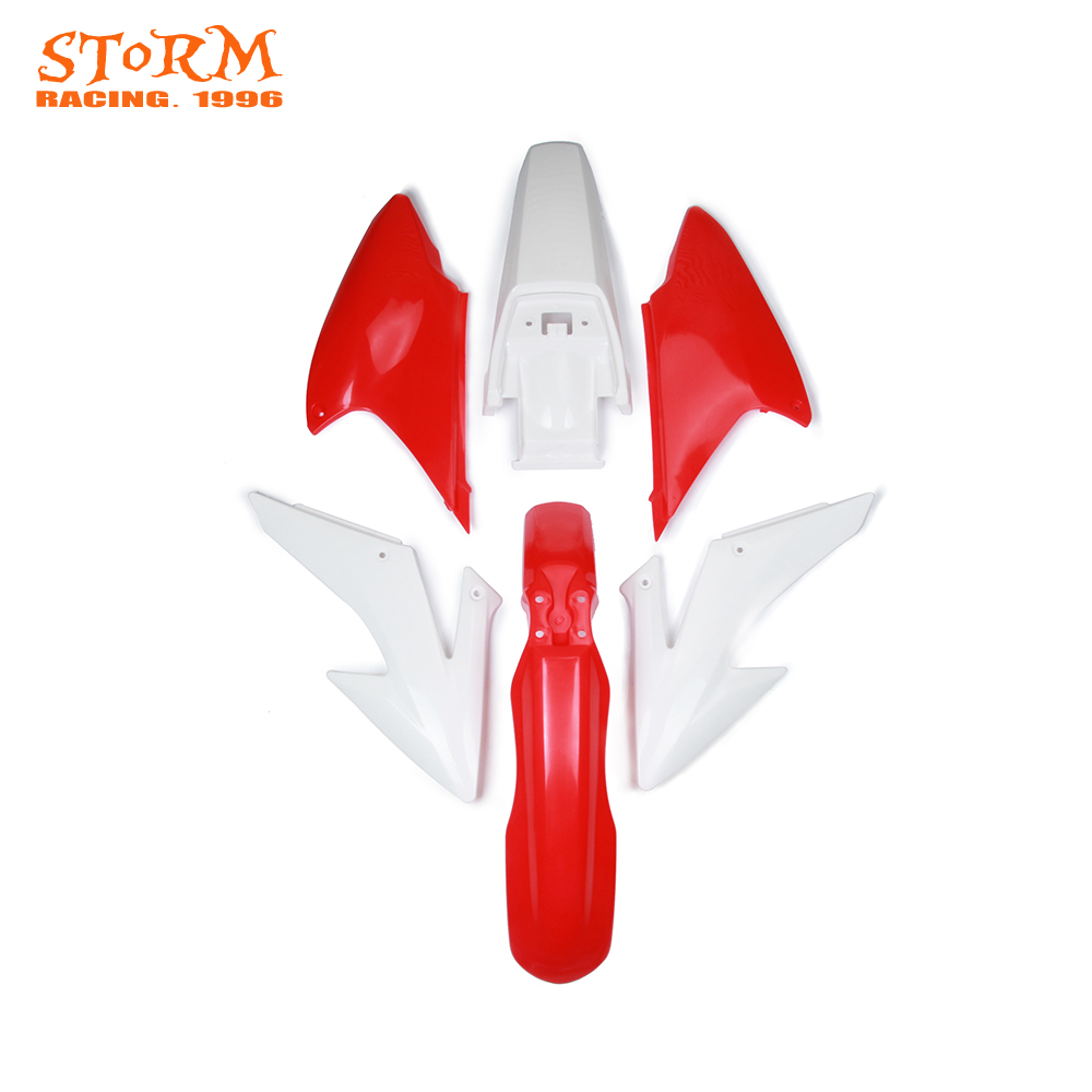 Plastic Kit Front and Rear Fender mud slip guard side number plate For HONDA CRF150F CRF 150F 150 F CRF230F 230F 08-09 12-14 front plastic number plate fender cover fairing for honda crf100 crf80 crf70 xr100 xr80 xr70 style dirt pit bike