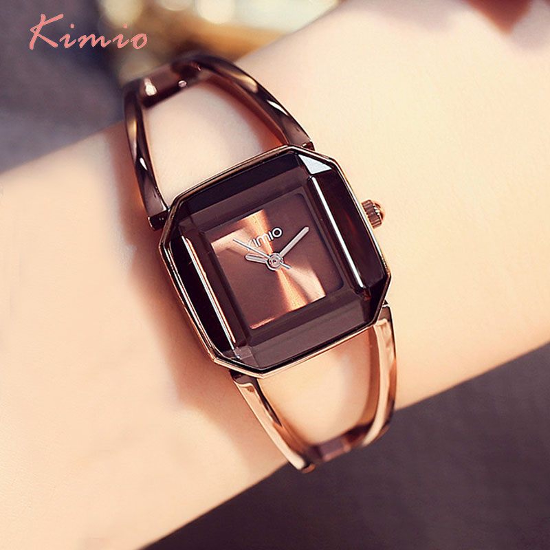 KIMIO כיכר אופנה שלד צמיד רוז זהב שעונים 2017 יוקרה מותג גבירותיי נשים שעון נשי קוורץ-שעון שעוני יד