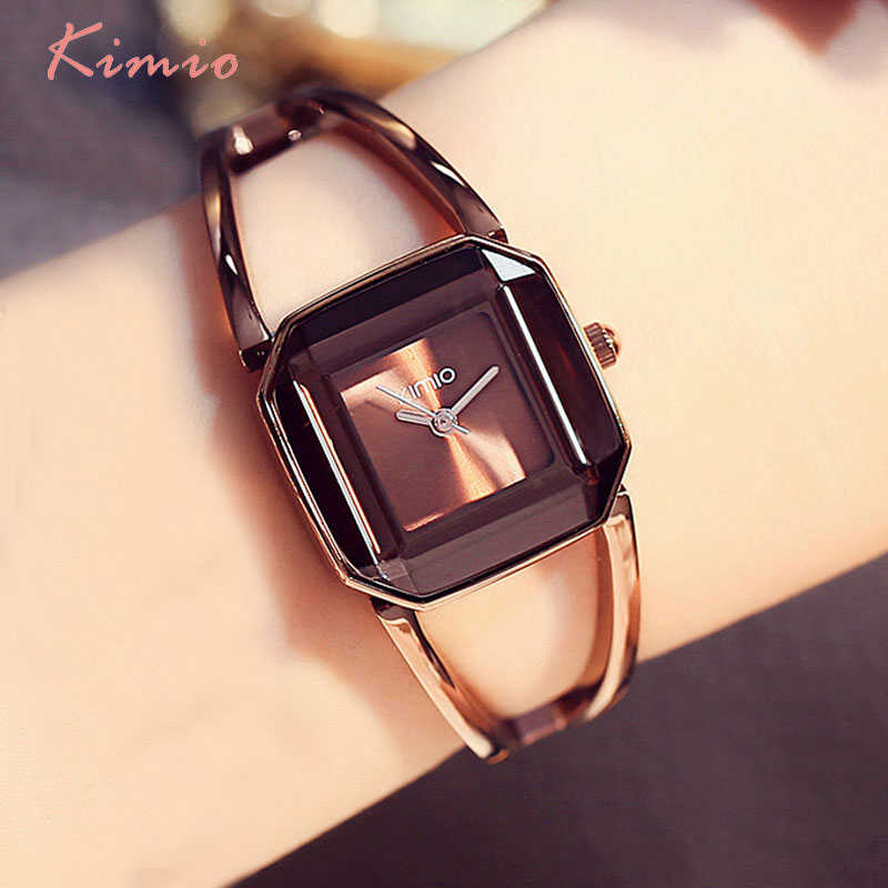 KIMIO כיכר אופנה שלד צמיד רוז זהב שעונים 2019 יוקרה מותג גבירותיי נשים שעון נשי קוורץ-שעון שעוני יד