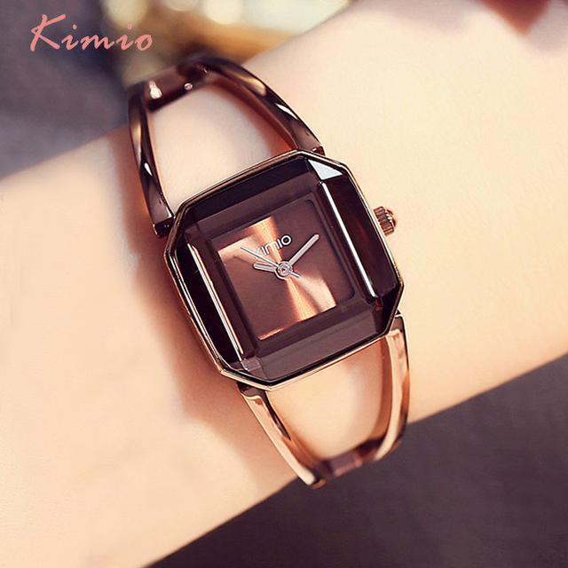KIMIO Square Fashion Skeleton Bracelet Rose Gold Watches 2017 Luxury Brand Ladie