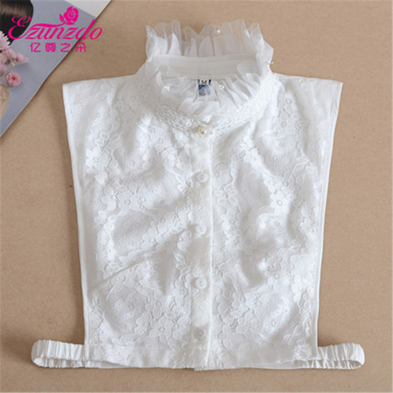 YIZUNZHIDUO Fake Shirt Collar Women False Collar Lace White Decorative High Neck Lapel Blouse Top Women Clothes Accessories