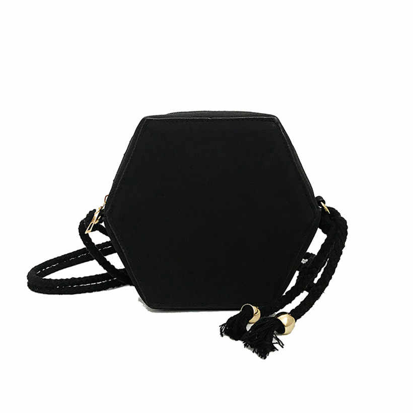 ada47d616ab3 Leisure Japan and Korean Style Fashion Women Concise Sweet Leisure Scrub  Joker Pentagon Shoulder Bag Cross