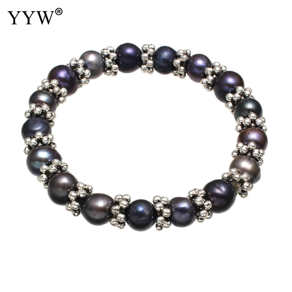 Freshwater Cultured Pearl Bracelet Freshwater Pearl Elastic Thread Potato For Woman Black 8-9mm Sold Per Approx 7 Inch Strand