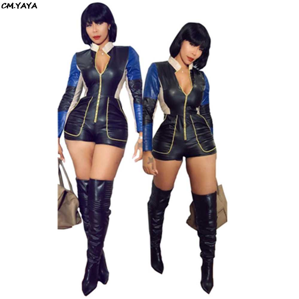 d01093e69965 Women new faxu leather PU multi color patchwork zip up moto biker long  sleeve jumpsuits active
