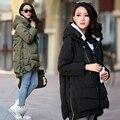 Mujeres / invierno abajo cubre la chaqueta acolchada con capucha gruesa larga bolsillo con cremallera de gran tamaño M-XXXL