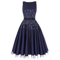 Fashion Navy Blue Evening Party Dresses Women Beaded Sleeveless Rockabilly 1950s Vintage Dress Vestidos Ladies Tulle