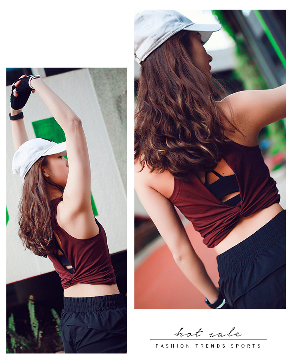 Cute Open Back Yoga Shirts Knotted Womens T Shirt Gym Tank Top Sport Vest Yoga Twist Back Tee Backless Workout Crop top Shirts 4