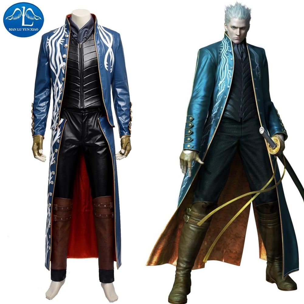 d2a60179aa84 Devil May Cry 3 Vergil Cosplay Kostým Hra Devil May Cry Kostým Hra Coser  Cosplay Oblečení Full Set Dospělí .