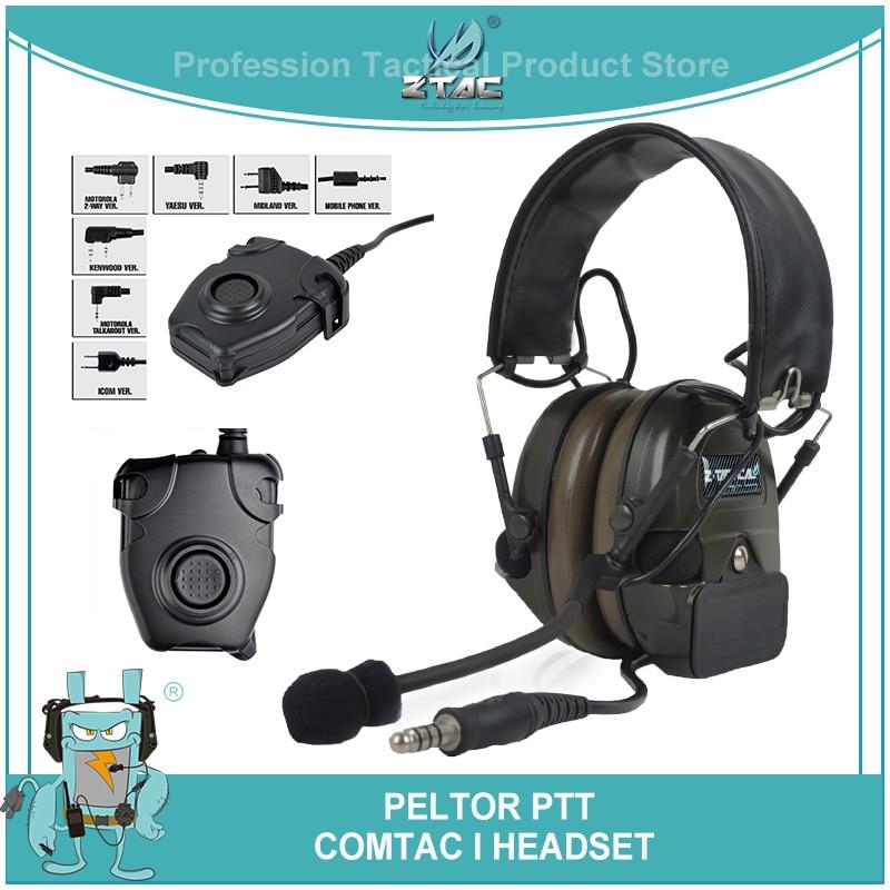 Z-Tactical Softair Aviation Headset Comtac i Earphones Peltor PTT Kenwod Military Noise Reduction Headphone Paintball Z054 Z112