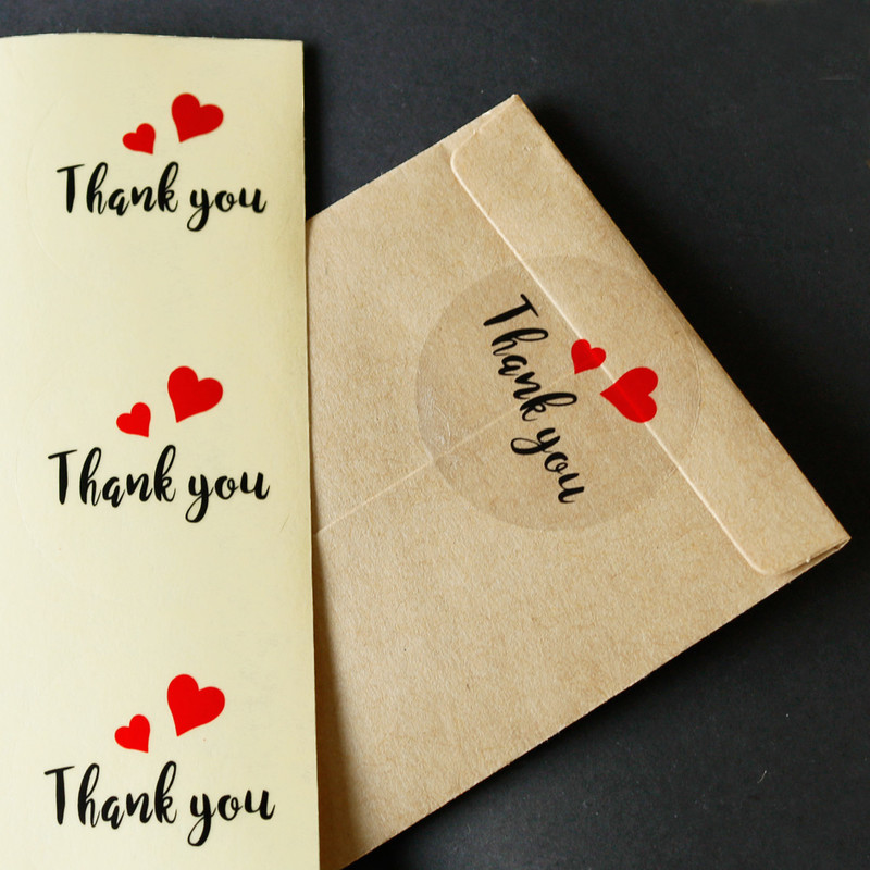 60PCS Thank you Paper Labels Stickers Seals Sealing Sticker Festival Gift Box