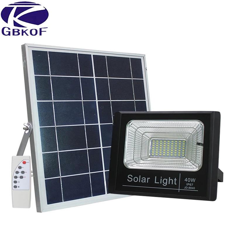 60W Solar Rechargeable LED Floodlight Spotlight Solar Garden Aisle Street Flood light Wall lamp With Night