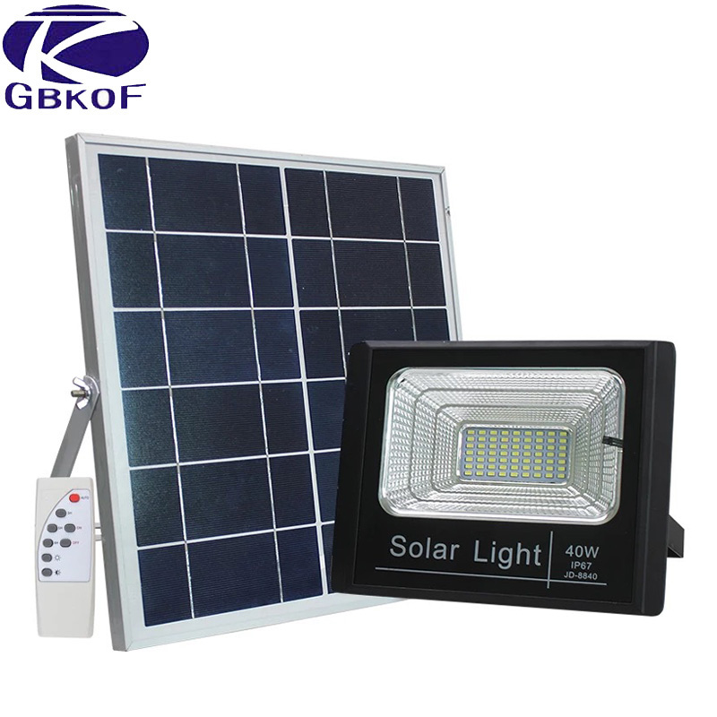 <font><b>60W</b></font> Solar Rechargeable <font><b>LED</b></font> <font><b>Floodlight</b></font> Spotlight Solar Garden Aisle Street Flood light Wall lamp With Night Sensor Remote Control image