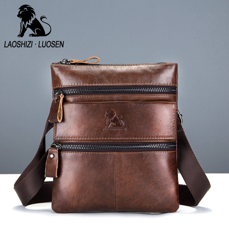 Retro Casual Bag Genuine Leather Men Zipper Opening Crossbody Shoulder Bags Business Bags Male Casual Top